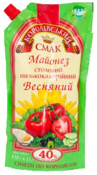 """МАЙОНЕЗ """"ВЕСНЯНИЙ"""" (ВЕСЕННИЙ) 40%, 650Г"""